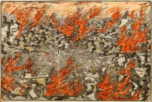 安政地震を描く木版画