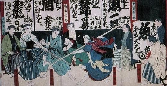 明治時代に千葉道場で行われた千葉撃剣会(右は千葉東一郎)