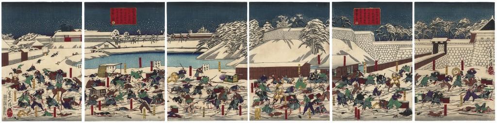 彦根藩の行列を襲撃する水戸浪人を描く木版画