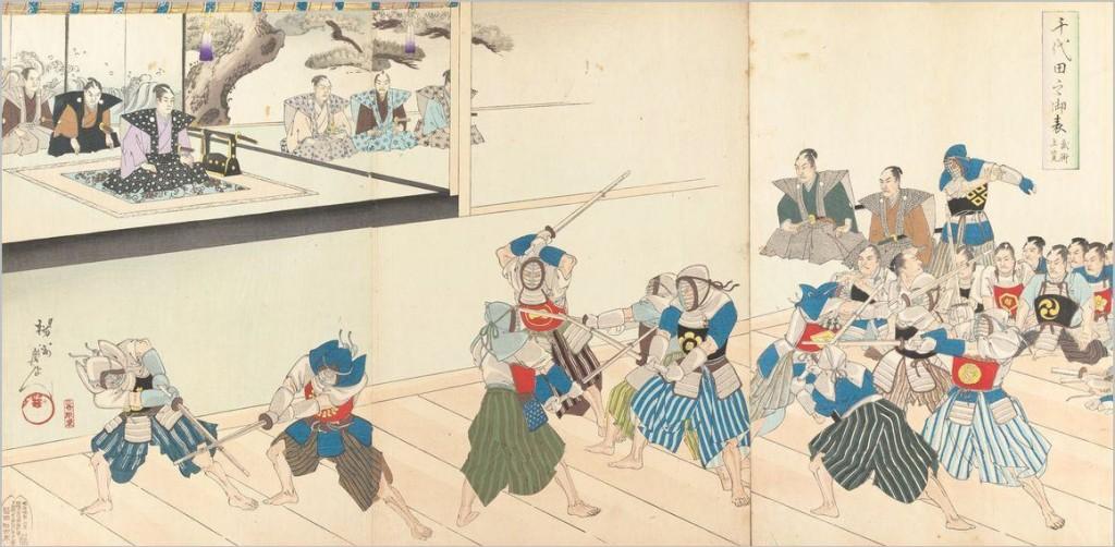 江戸時代後期の他流試合稽古では、剣士たちの技術レベルを一族の代表が検分しました。